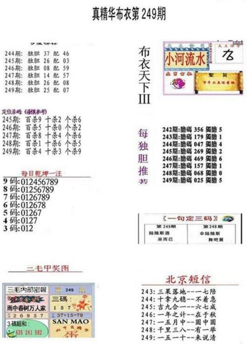 3d18249期:真精华布衣天下图库